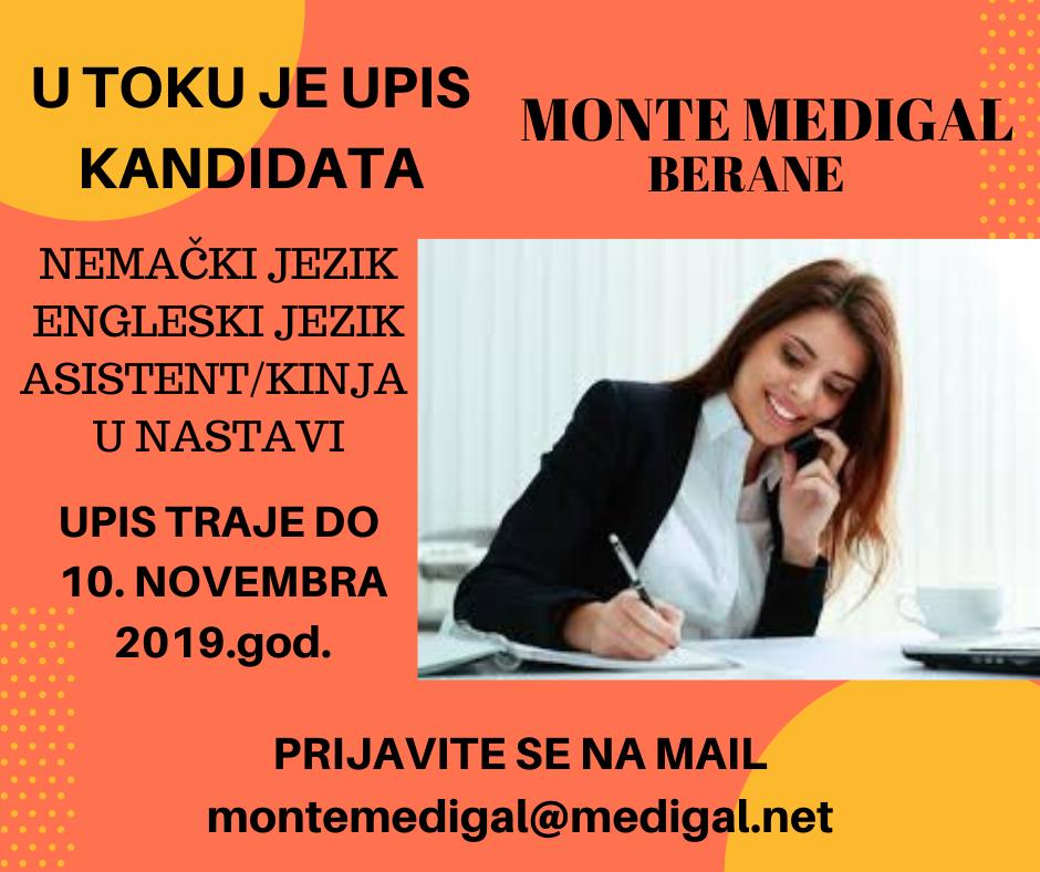 ☝️Organizator obrazovanja odraslih Monte Medigal iz Berana vrši upis kandidata na sledeće kurseve: – Nemački jezik; – Engleski jezik; – Asistent/kinja u nastavi;